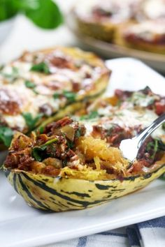 Stripetti Au Gratin with Lentil and Spinach Sauce by thehealthiefoodie #Squash #Lentil #Spinach #the