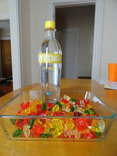 All you need is a big bag of gummi bears (Haribo are my favorite), and a 750 ml bottle of vodka.  I decided to use a citrus flavored vodka to go with the fruitiness of the gummi bears.