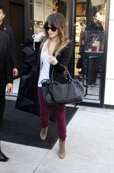 Loving Rachel Bilson s studded bag and plum skinnies Fall Fashion Outfits 30126925434a7
