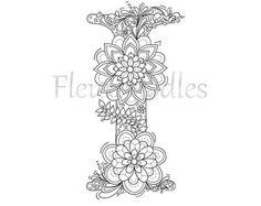Malseite zum Ausdrucken - Buchstabe I - floral, handgezeichnetes Unikat, Ausmalbilder, Mandala, Malbuch, zum Ausmalen, Zentangle,zum Drucken