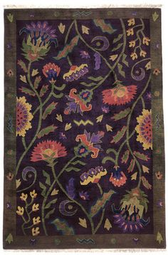 Hatfield Tapestry - Handmade contemporary oriental rug with flowers on a deep eggplant filed of warm scrumptious colors