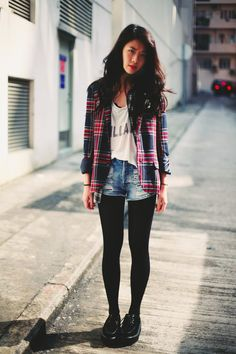 Plaid / Gingham Button Down Shirt over Graphic T Shirt and Distressed Denim Shorts with Tights ( for fall / winter )