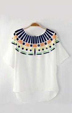 O-neck Short Sleeves High Low Hem Chiffon Printed T-shirt