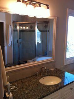 Master Bath Custom Framed Vanity Mirror & new  Granite Counter Tops by Jane Gianarelli