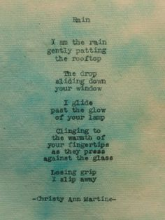 Rain Poem on Multicolored Cotton Paper Typewriter poetry by Christy Ann Martine, $10.00 #poetry