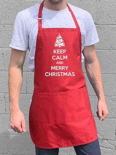 Keep Calm & Merry Christmas Apron - Red