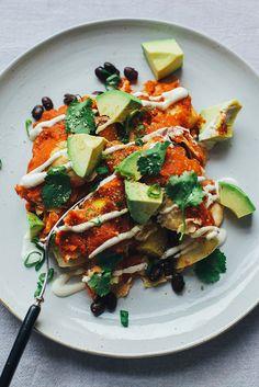 Sweet Potato vegan enchiladas w/ lime cream and avocado