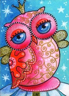 Pink owl. Pink- July is National Cleft & Craniofacial Awareness & Prevention Month & October is Breast Cancer Awareness Month