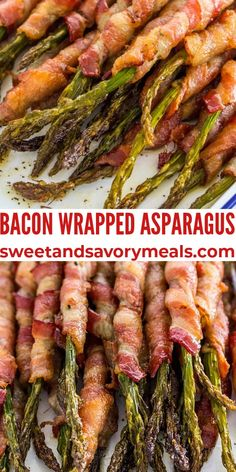 Bacon Wrapped Asparagus is an easy and delicious side dish that is ready in 30 minutes. #asparagus #baconwrapped #bacon #sidedish #easyrecipe #sweetandsavorymeals Appetizer Ideas, Easy Appetizer Recipes, Best Appetizers, Best Side Dishes, Healthy Side Dishes, Vegetable Side Dishes, Bacon Recipes For Dinner, Party Recipes, Dishes Recipes