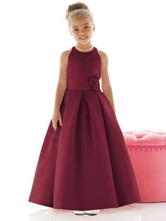 205837a54d4a7 Burgandy Flower Girl Dress, Burgundy Flowers, Satin Flowers, Purple Rose,  Junior Pageant. The Dessy Group