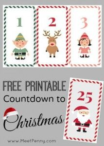 Countdown to Christmas - A free printable so you can create an activity calendar for your children as the anticipation of Christmas builds with each day.