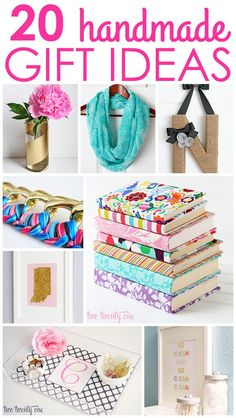 GREAT inexpensive handmade gift ideas!  Love the cloth covered books, and the personalized mugs!