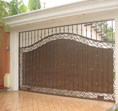 48 Steel Gate Design Idea is Perfect for Your Home - decortip House Main Gates Design, Fence Gate Design, Steel Gate Design, Front Gate Design, Door Design, Exterior Design, Wrought Iron Gate Designs, Wrought Iron Driveway Gates, Gate Designs Modern