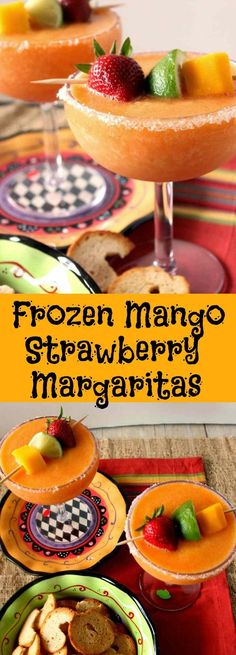 Frozen Mango Strawberry Margaritas are the perfect way to celebrate Cinco de Mayo in a big way! Pour yourself one, you deserve it! Frozen Margaritas, Frozen Strawberry Margarita, Homemade Margaritas, Frozen Drinks, Frozen Fruit, Easy Margarita Recipe, Margarita Drink, Margarita Party, Mango Margarita Recipes