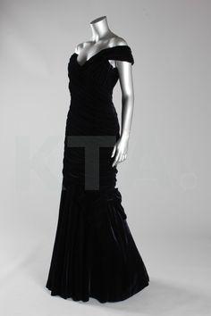 Victor Edelstein midnight-blue velvet evening gown