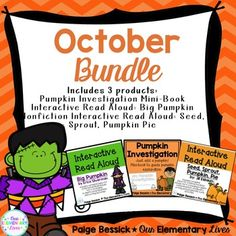October Activities {Bundle} Includes 3 complete products.  Save over 20% by buying the bundle.  Includes 2 interactive read alouds and a pumpkin investigation.