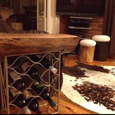 New wine rack log table DIY project. Total cost $18.
