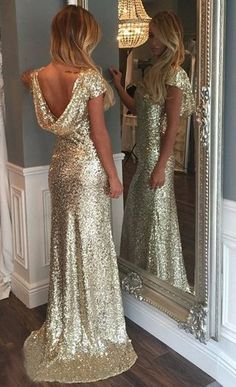 #gold sequins long backless bridesmaid dresses #backless gold sequins bridesmaid dresses Gown