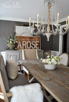 80 Best Farmhouse Dining Room Makeover Decor Ideas – Best Home Decorating Ideas Modern Farmhouse Table, Farmhouse Dining Room Table, Farmhouse Style, Rustic Farmhouse, Farmhouse Ideas, Dining Rooms, Kitchen Dining, Dining Room Inspiration, Home Decor Inspiration