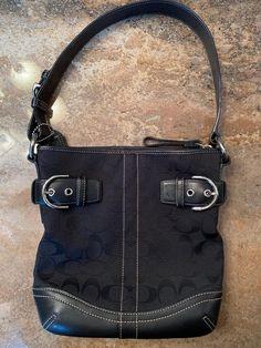 4ff1bae0296 Coach Black Signature Canvas Leather Shoulder Purse Handbag w Buckle  Accents  fashion