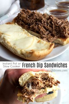 Dip Sandwiches (Instant Pot or Slow Cooker) High protein, macro friendly French Dip sandwiches in the Instant Pot!High protein, macro friendly French Dip sandwiches in the Instant Pot! Clean Recipes, Crockpot Recipes, Cooking Recipes, Healthy Cooking, Healthy Meals, Slow Cooker Beef, Pressure Cooker Recipes, Macro Friendly Recipes, Photo Food