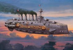 French Type 4 Battleship - Leviathans - Monsters in the Sky Steampunk Ship, Steampunk Kunst, Steampunk Artwork, Steampunk Weapons, Steampunk Clothing, Steampunk Fashion, Gothic Steampunk, Victorian Gothic, Gothic Fashion