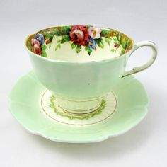 """Paragon Green """"Tapestry Rose"""" Tea Cup and Saucer, Vintage Bone China, Paragon Cup and Saucer"""