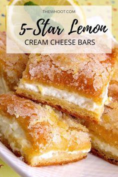 Lemon Cream Cheese Bars - 5 Star Recipe | The WHOot Lemon Desserts, Köstliche Desserts, Lemon Recipes, Healthy Dessert Recipes, Sweet Recipes, Baking Recipes, Cake Recipes, Pineapple Dessert Recipes, Soup Recipes