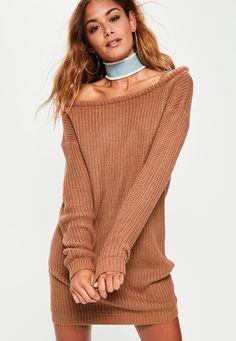 Missguided - Brown Off Shoulder Knitted Jumper Dress