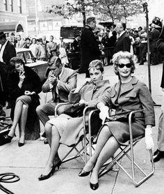 Audrey Hepburn & George Peppard on the Breakfast at Tiffanys set.