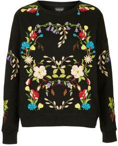 Topshop Black Embroidered Floral Sweatshirt- Lyst