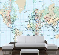 Mapa Mundo mural de paredes em vinil autocolante decorativo de parede.