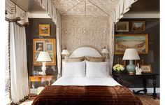 Alexa Hampton uses traditional decorating techniques—lacquered walls, crown molding, a canopy bed, swag curtains—to craft a soft, feminine escape. Alexa Hampton, Home Bedroom, Bedroom Furniture, Bedroom Decor, Master Bedroom, Bedroom Lighting, Bedroom Wall, Home Design, Interior Design