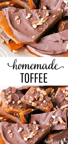 holiday recipes Homemade Toffee - This rich and buttery toffee takes about thirty minutes to make and is super easy, too! Perfect for parties, holiday gifts, and snacking! You wont believe how simple this toffee recipe is! Homemade Toffee, Homemade Candies, Easy Toffee Recipe, Homemade Candy Recipes, Chocolate Candy Recipes, Easy Homemade Snacks, Chocolate Toffee, Caramel Toffee Recipe, Easy Homemade Chocolates Recipe