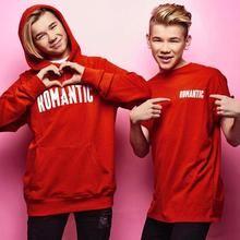 Romantic Letters Hoodie Red Cotton Marcus and Martinus Dream Boyfriend, Red Hoodie, Kawaii Girl, Handsome Boys, Hot Guys, Twins, Graphic Sweatshirt, Celebs, Hoodies