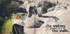 """Kolejna rozkładówka z książki """"Wilki w ścianach"""", tym razem z wydania oryginalnego."""