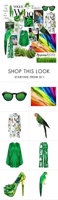 """Parakeets Green"" by soniauk ❤ liked on Polyvore featuring Illesteva, Roberto Cavalli, STELLA McCARTNEY, Dolce&Gabbana and Shoe Republic LA"