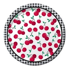 """Cherry Gingham 10"""" Paper Luncheon Plates   8ct"""