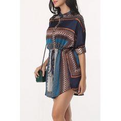 USD12.99Trendy Mandarin Collar Long Sleeves Printed Drawstring Design Blending Mini Dress