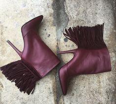 #the5thelementshoes #rosettishowroom #marsala #leather #fringe #boots #fallwinter