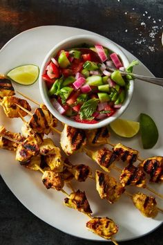 Joojeh kabab is a classic grilled chicken kabob recipe from Iran. Chicken pieces are smothered in a delicious saffron marinade and have bright flavor thanks to lemon. Grilled Chicken Kabobs, Chicken Kabob Recipes, Yogurt Chicken, Health Dinner, Winner Winner Chicken Dinner, Food 52, Main Dishes, Dinner Recipes, Summer Bbq