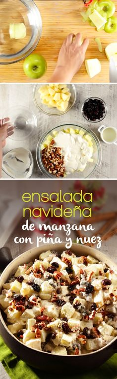 **English directions**Delicious sweet salad to accompany all the Christmas dinner dishes. Prepared with apple, pineapple, walnut and raisins. This traditional dish is perfect to share and celebrate these holidays in the company of your loved ones. Köstliche Desserts, Delicious Desserts, Yummy Food, My Favorite Food, Favorite Recipes, Mexican Food Recipes, Healthy Recipes, Salty Foods, Food Porn