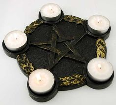 This is one of my favorites on Wiccan Supplies, Witchcraft Supplies & Pagan Supplies Experts-Eclectic Artisans: Pentagram Candle Holder Altar Plate