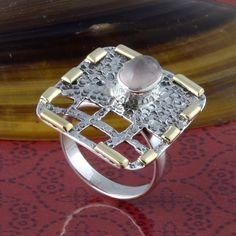 925 SOLID STERLING SILVER NEW STLISH ROSE QUARTZ RING 6.18g DJR3305 #Handmade #Ring