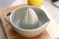 Pottery Citrus Juicer  Soft Gray Lemon Juicer by FringeandFettle, $38.00