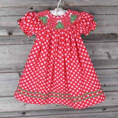 "Christmas Tree Smocked Bishop Red & Pink Polka Dot Pre-Order shipping by November 7th, 2014 Brand: Classic Whimsy. Price: $32.99 Options: 3M, 6M, 9M, 12M, 18M, 24M, 2T, 3T, 4T, 5, 6 To bid, comment with ""Sold, size, email address""."