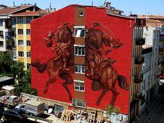 Argentinian JAZ (Franco Fasoli) Latest Piece in Istanbul, Turkey Red Street Art Urban Decay Graffiti Turkish Banksy 3d Street Art, Murals Street Art, Best Street Art, Amazing Street Art, Art Mural, Street Art Graffiti, Street Artists, Red Street, Art Art