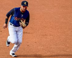 Cito Culver fields his position running back to first base with ball in hand during an August 2016 game. #railriders #swbrailriders #yankees #nyy #nyyankees #newyorkyankees #mlb #milb #baseball #baseballamerica #citoculver