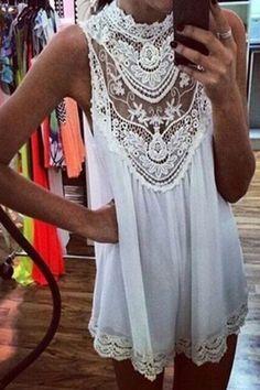 White Lace Crochet Chiffon High Collar Loose fit Mini Skater Dress – Auemay