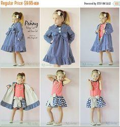Penny Vintage Coat and Dress Pattern - Ellie Inspired PDF Pattern - Size 1 - 16 by EllieInspiredClothes Clothing Patterns, Dress Patterns, Sewing Patterns, Kids Clothing, Little Girl Dresses, Girls Dresses, Baby Dress Tutorials, Coat Dress, Dress Set